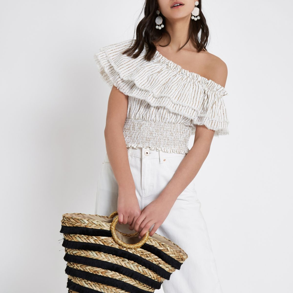 Cream stripe frill one shoulder crop top