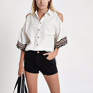 Cream cold shoulder tassel sleeve shirt