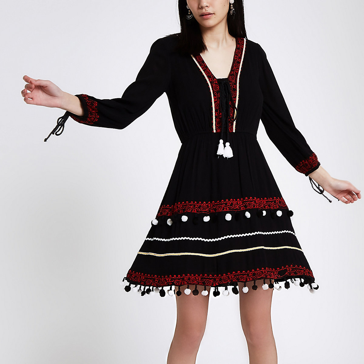 Black embroidered pom pom smock dress