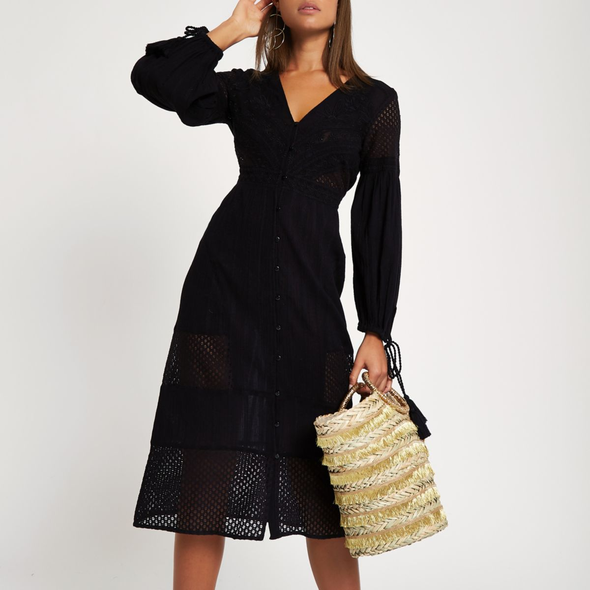Black embroidered button down dress