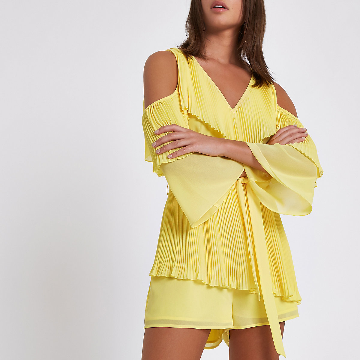 Yellow chiffon bardot playsuit