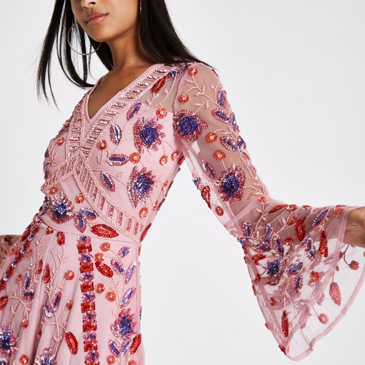 Pink floral sequin embellished playsuit