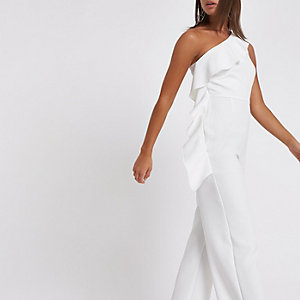 White frill one shoulder jumpsuit