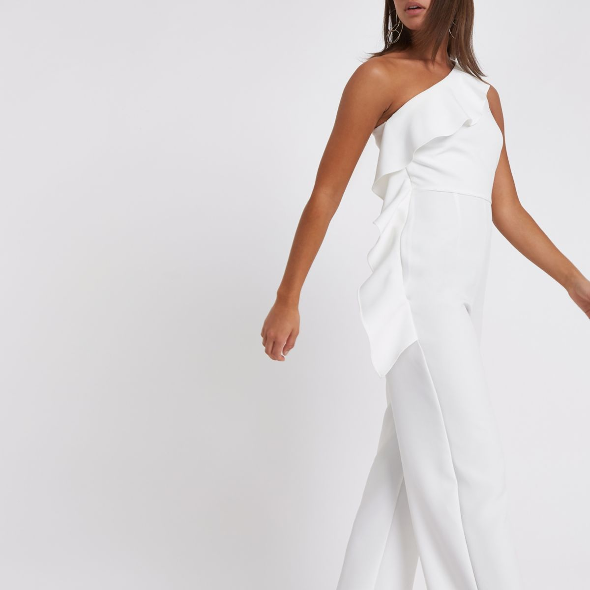 White frill one shoulder jumpsuit