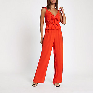 Red knot front jumpsuit