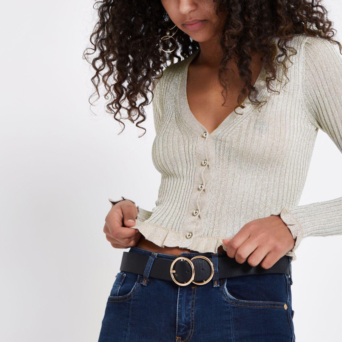 Gold metallic stitch fitted cardigan