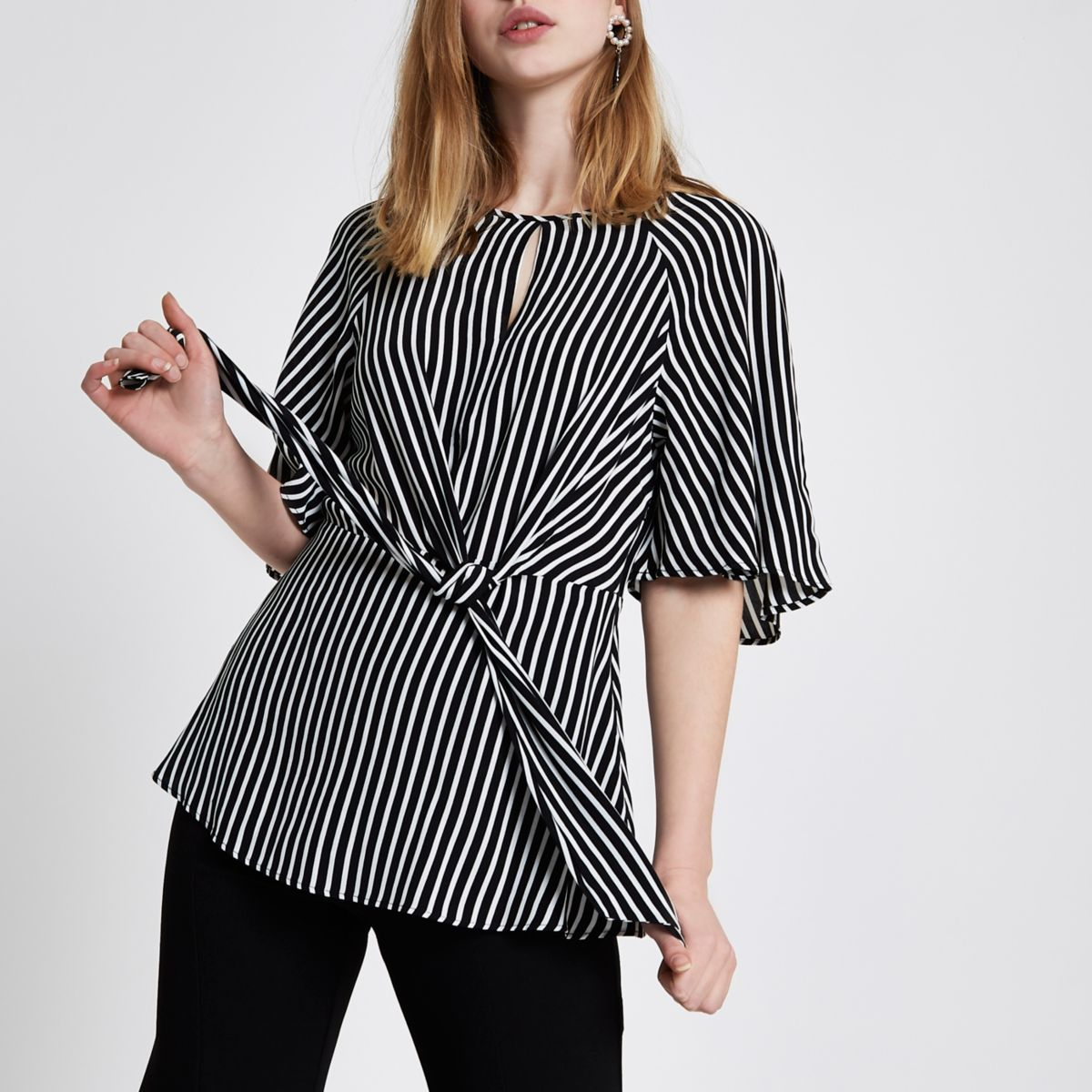 Black short sleeve stripe tie front blouse