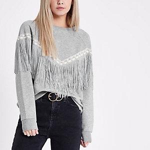 RI Petite - Grijs gemêleerd sweatshirt met aztekenmotief en franje