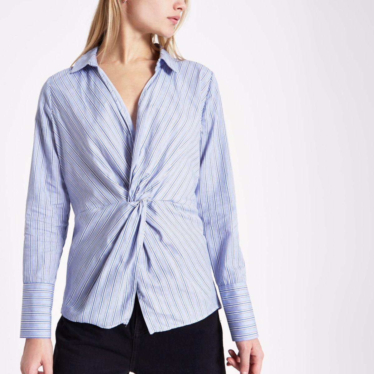 Blue stripe print knot front shirt