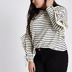 Plus cream stripe frill split sleeve jumper