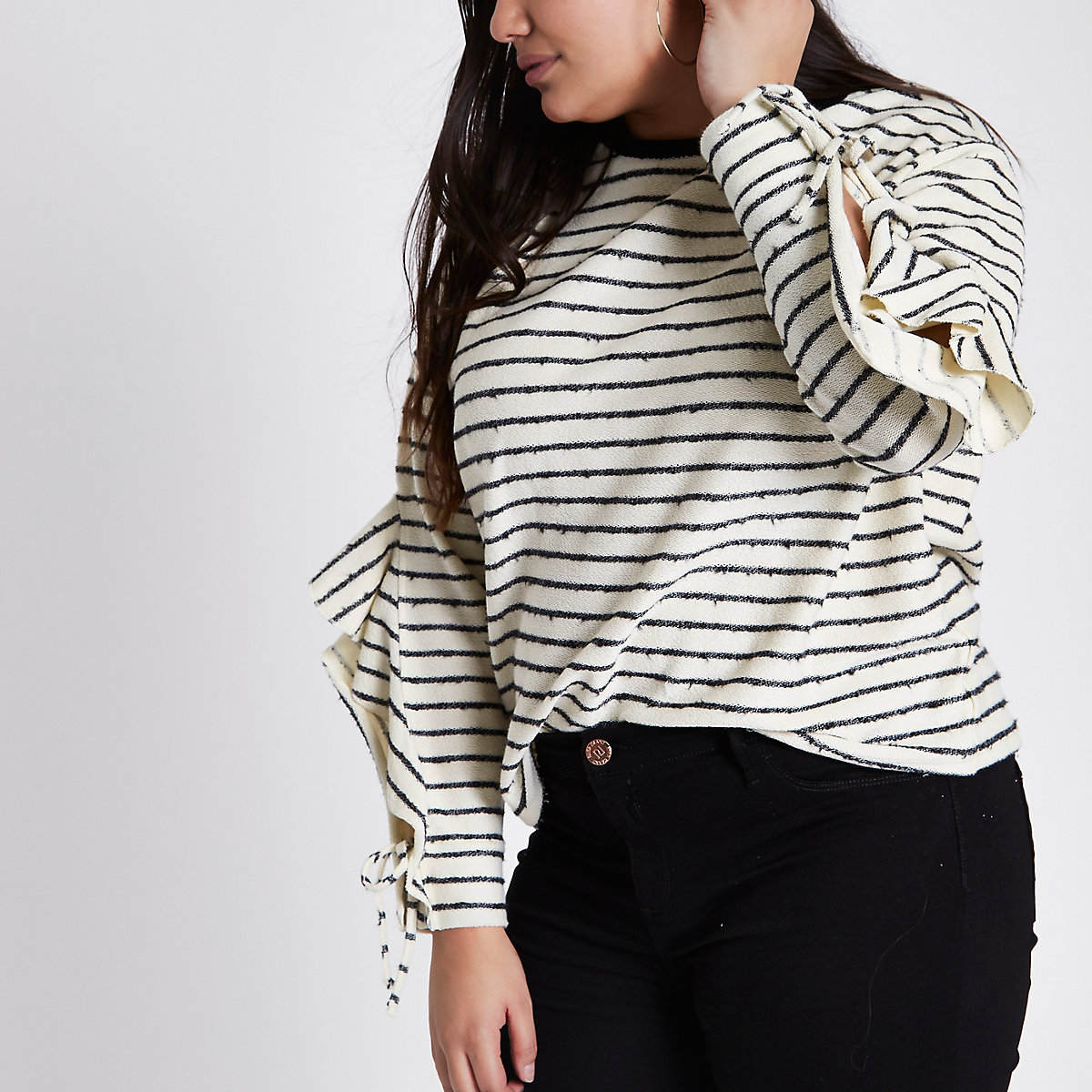 Plus cream stripe frill split sleeve jumper
