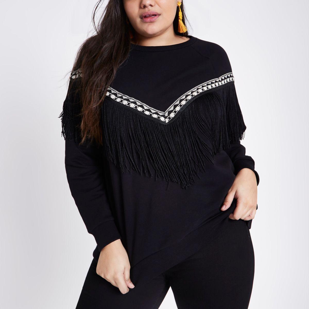 Plus black fringe trim sweatshirt