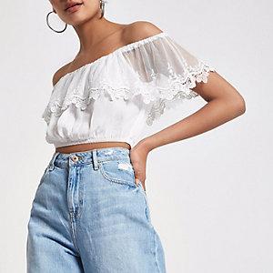Cream mesh lace crop top