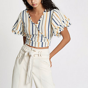 Crop top cache-cœur en denim rayé jaune à franges