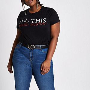 RI Plus - Zwart T-shirt met 'all this and more'-print
