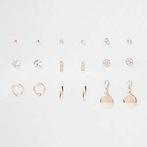 Gold tone sparkle stud earrings multipack