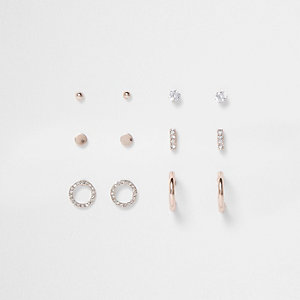 Rose gold diamante pave earrings pack