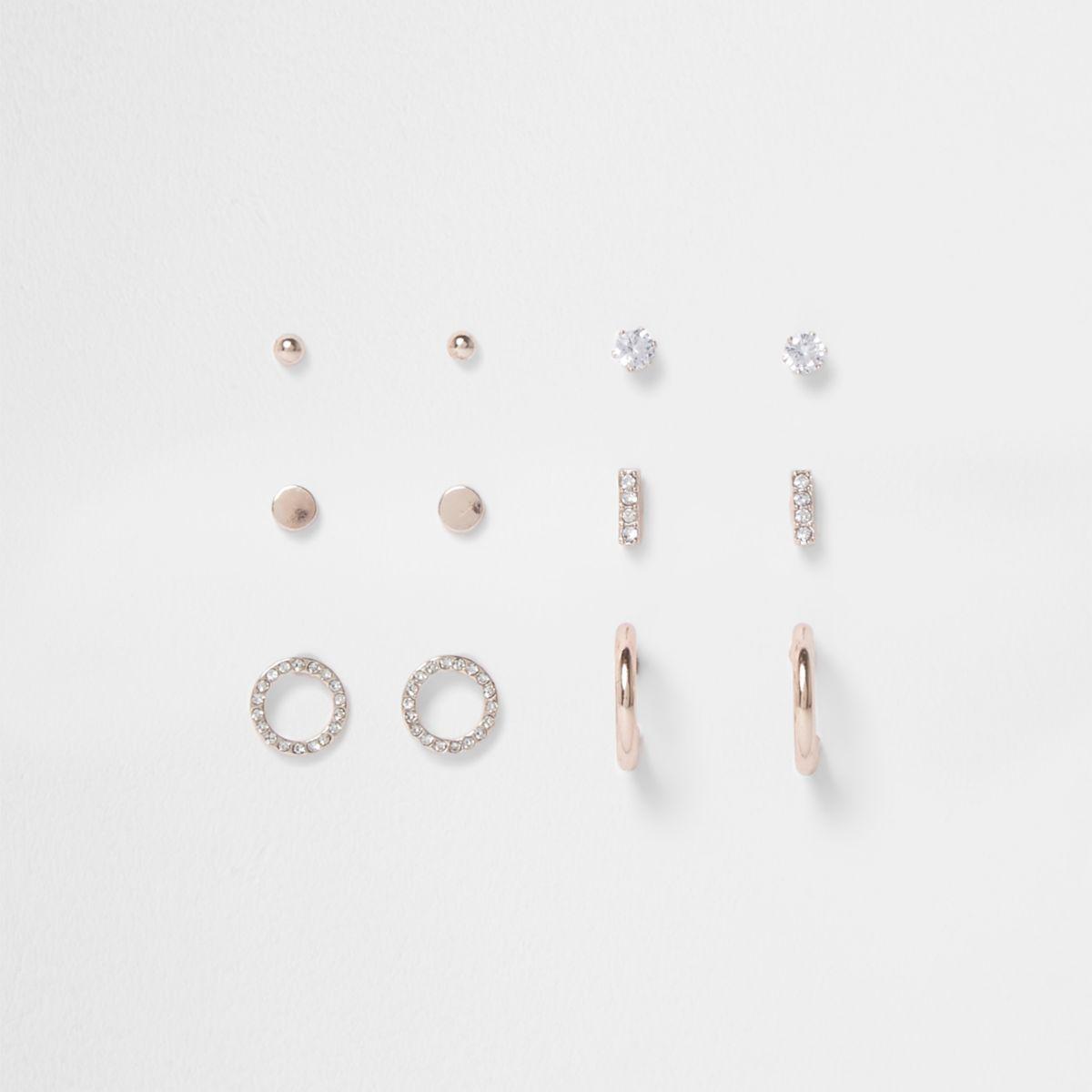 Rose gold rhinestone pave earrings pack