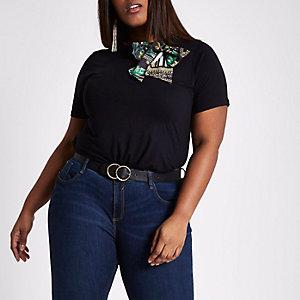 RI Plus - Zwart T-shirt met strik en sjaalprint