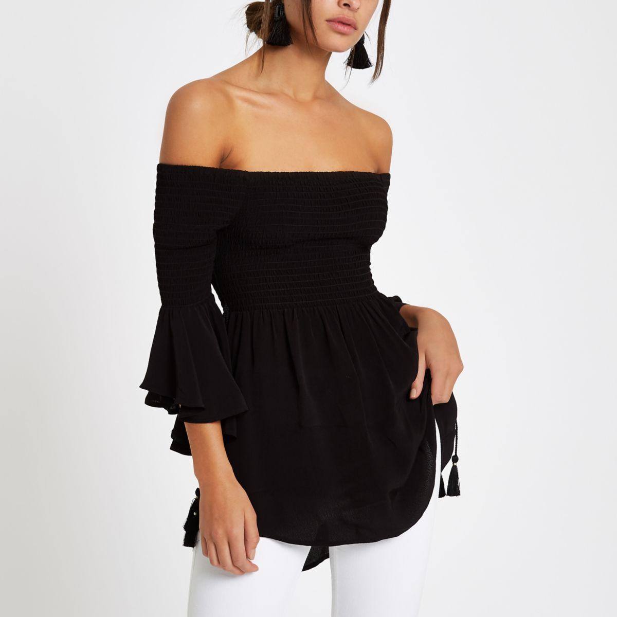 Black shirred bardot bell sleeve top