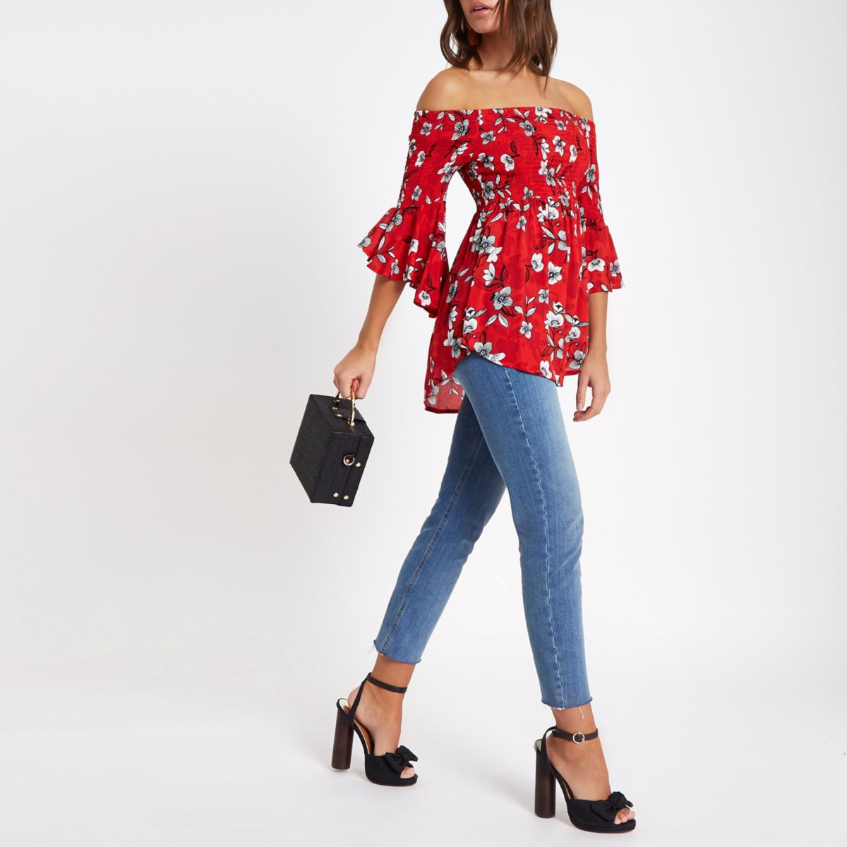 Red shirred floral bardot frill sleeve top