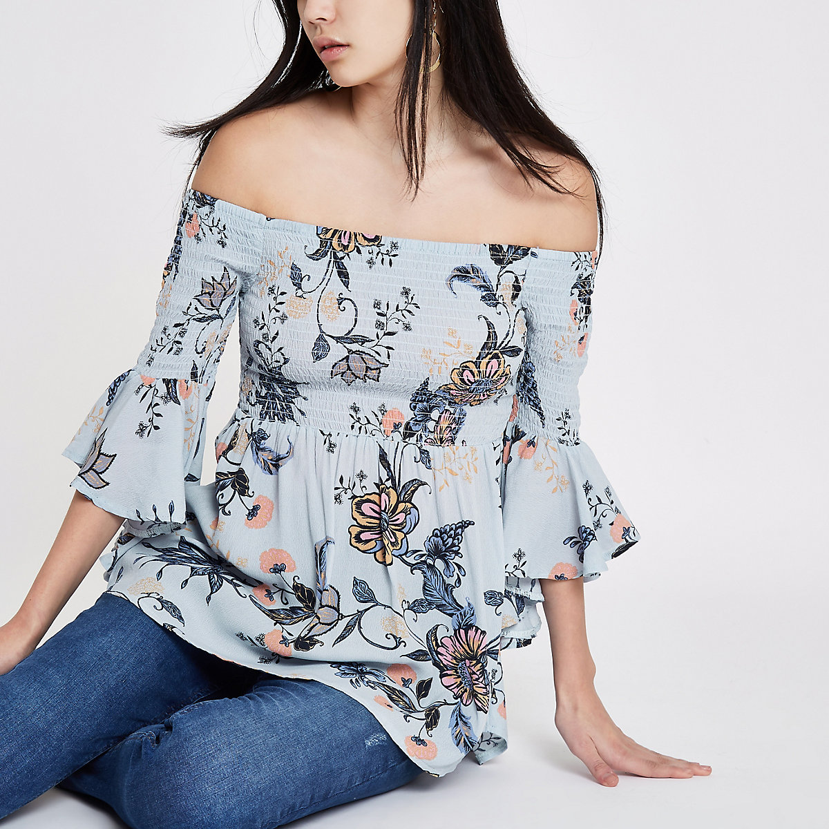 Blue floral shirred bardot bell sleeve top