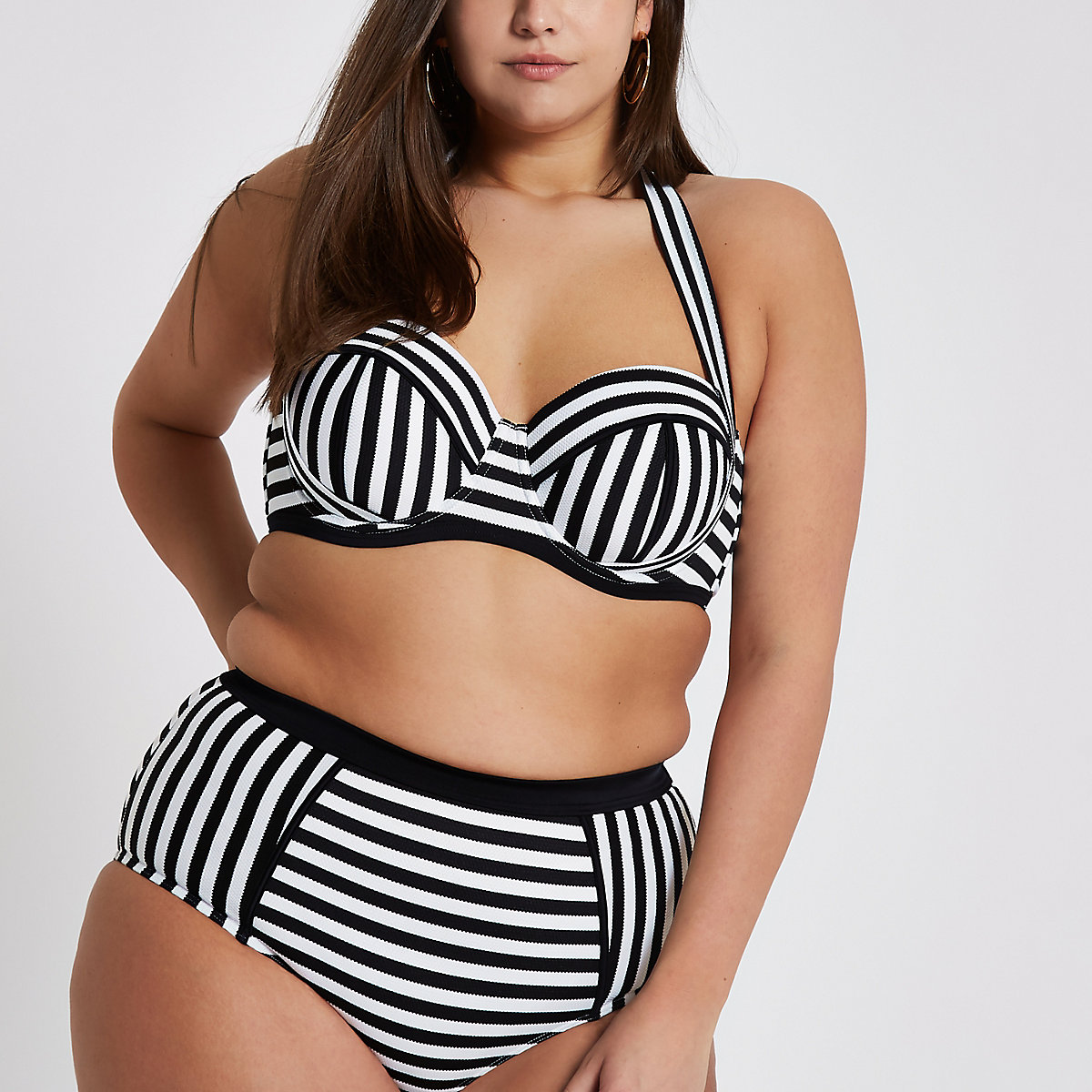 Plus white mono stripe halter bikini top
