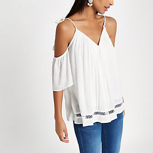 Cream bardot tassel tie top