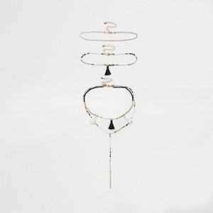 Zwarte chokerkettingset met kraaltjes, kwastjes en hanger