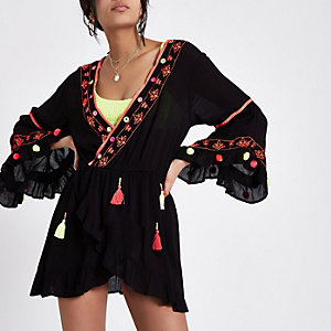 Black tassel embroidered smock top