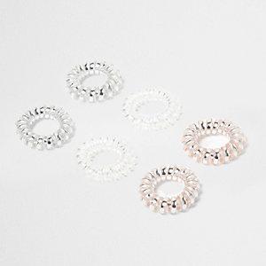 Set roze metallic spiraalvormige haarbandjes