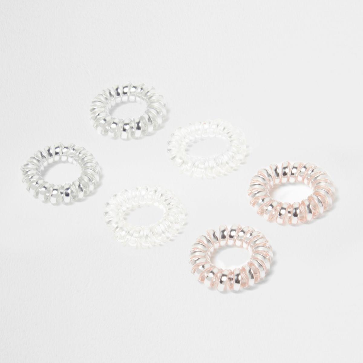 Pink metallic spiral hair tie pack