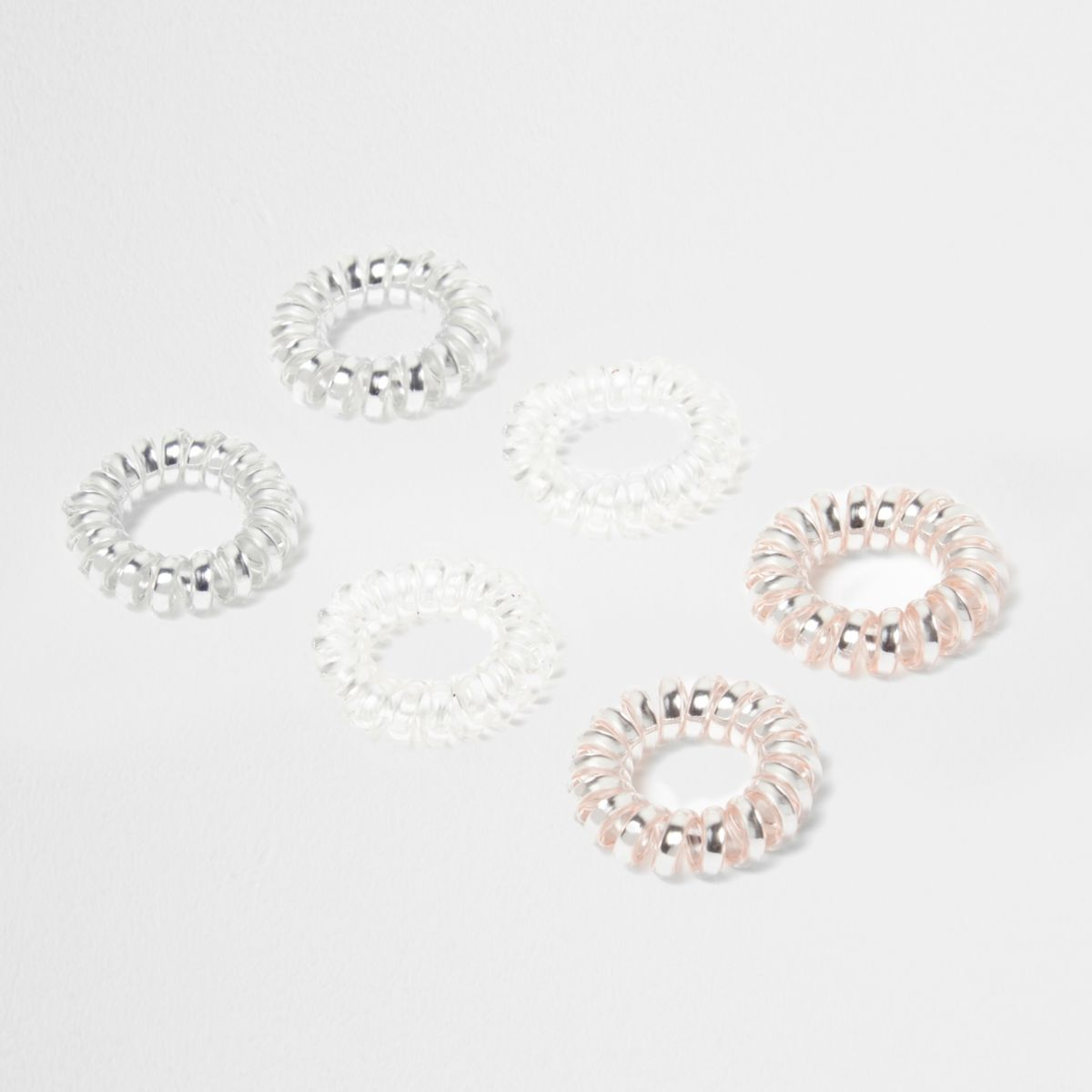 Pink metallic spiral hair tie pack