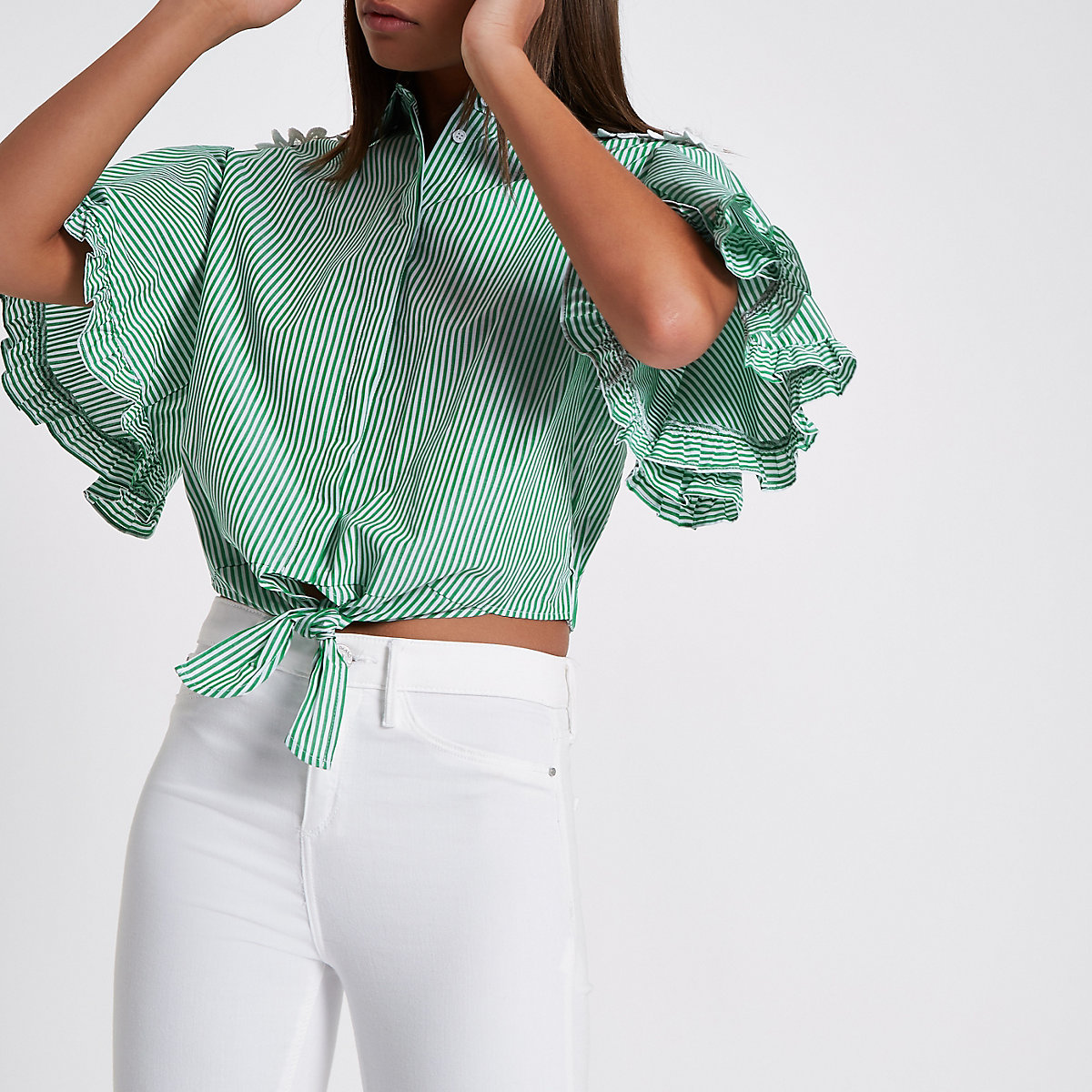 Green stripe tie front cropped shirt