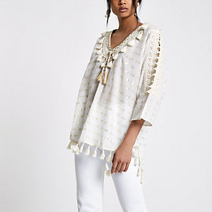 Cream tassel smock cover cover up