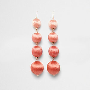 Pink tonal ball drop earrings