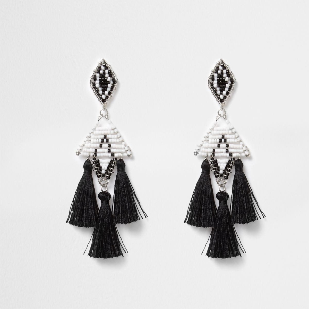 Black mono beaded tassel drop earrings