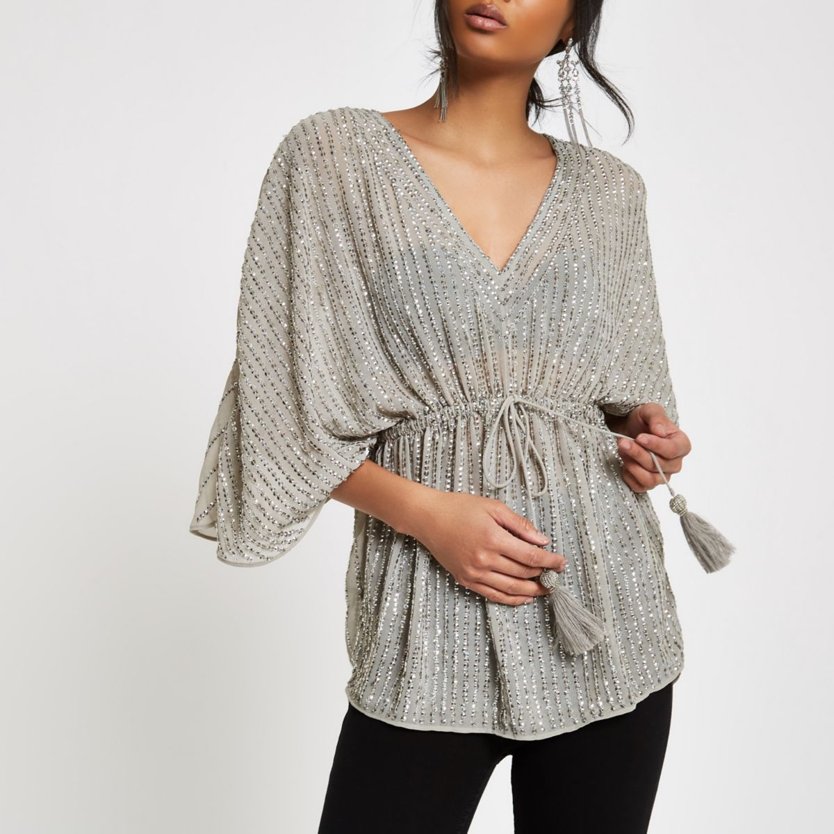 Grey sequin embellished tie waist kimono top