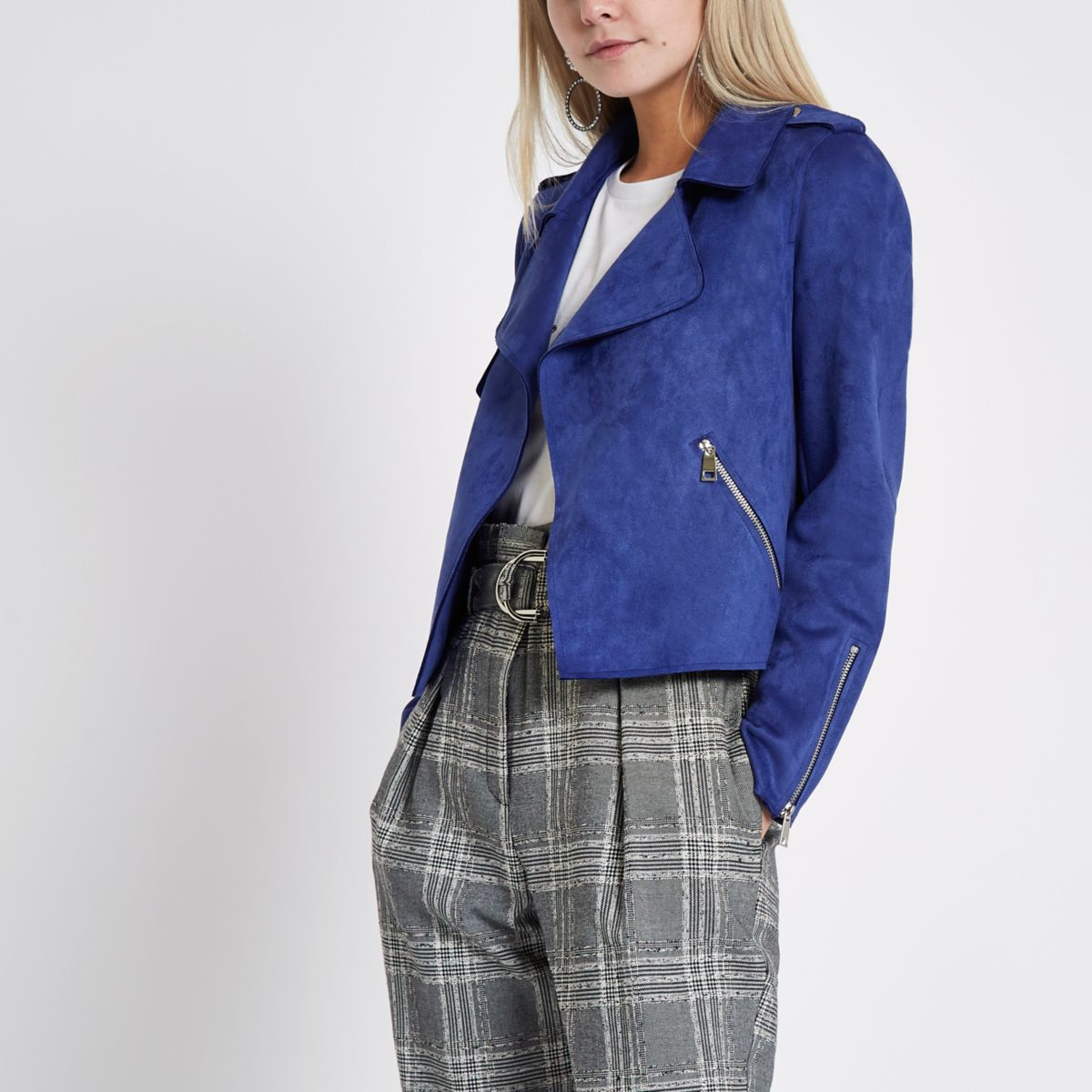 Petite blue faux suede cropped trench jacket