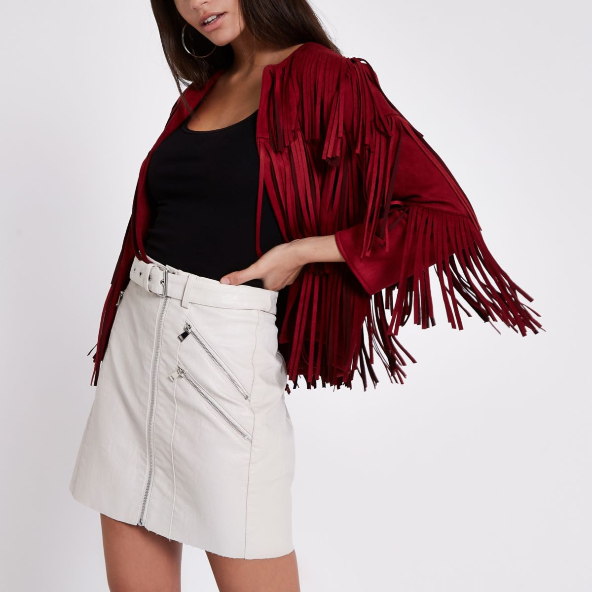 Cream faux leather belted biker mini skirt