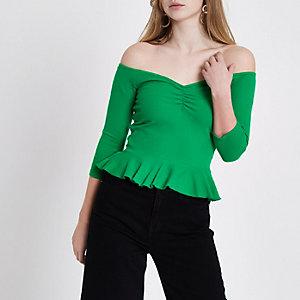 Top Bardot péplum vert côtelé