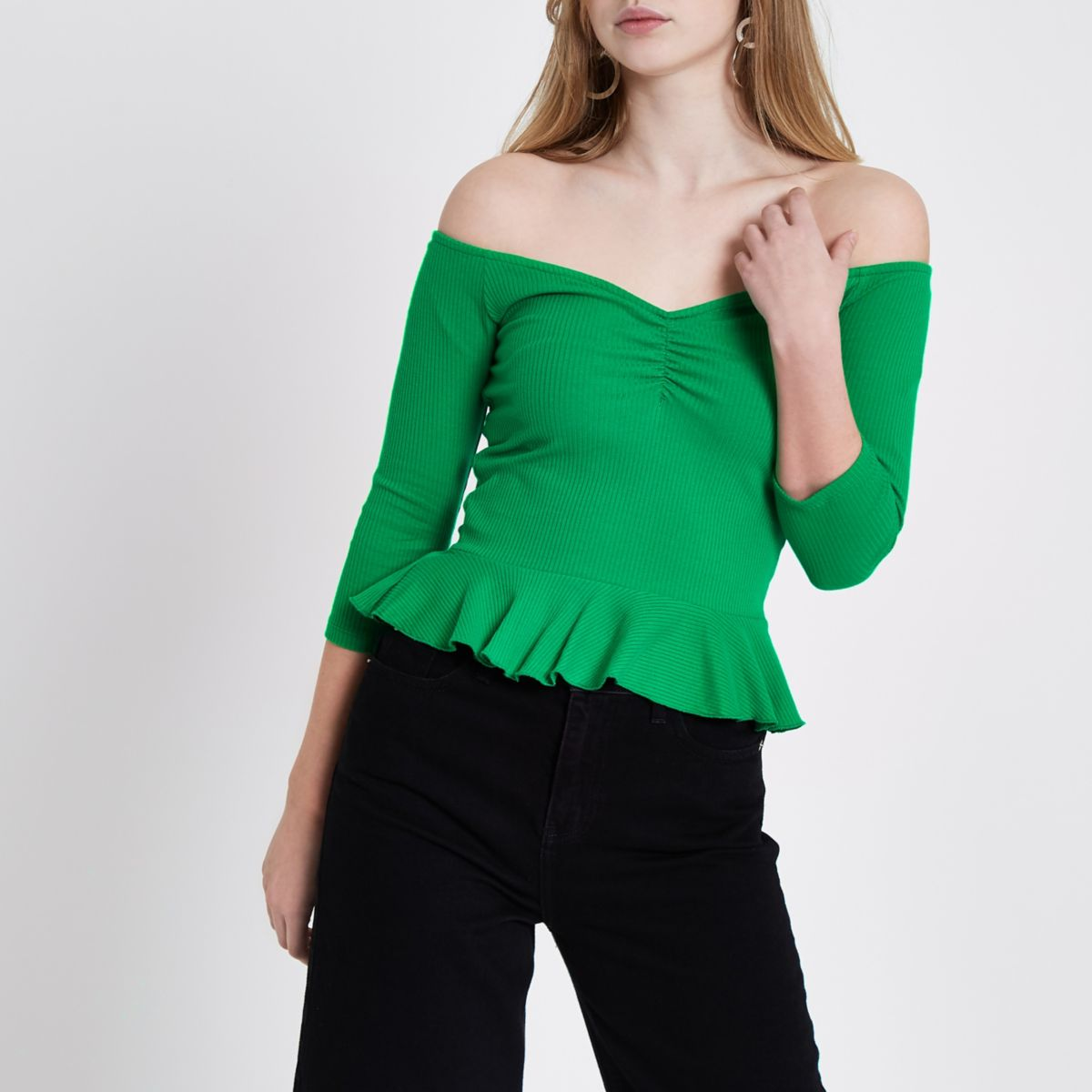 Green rib bardot peplum top