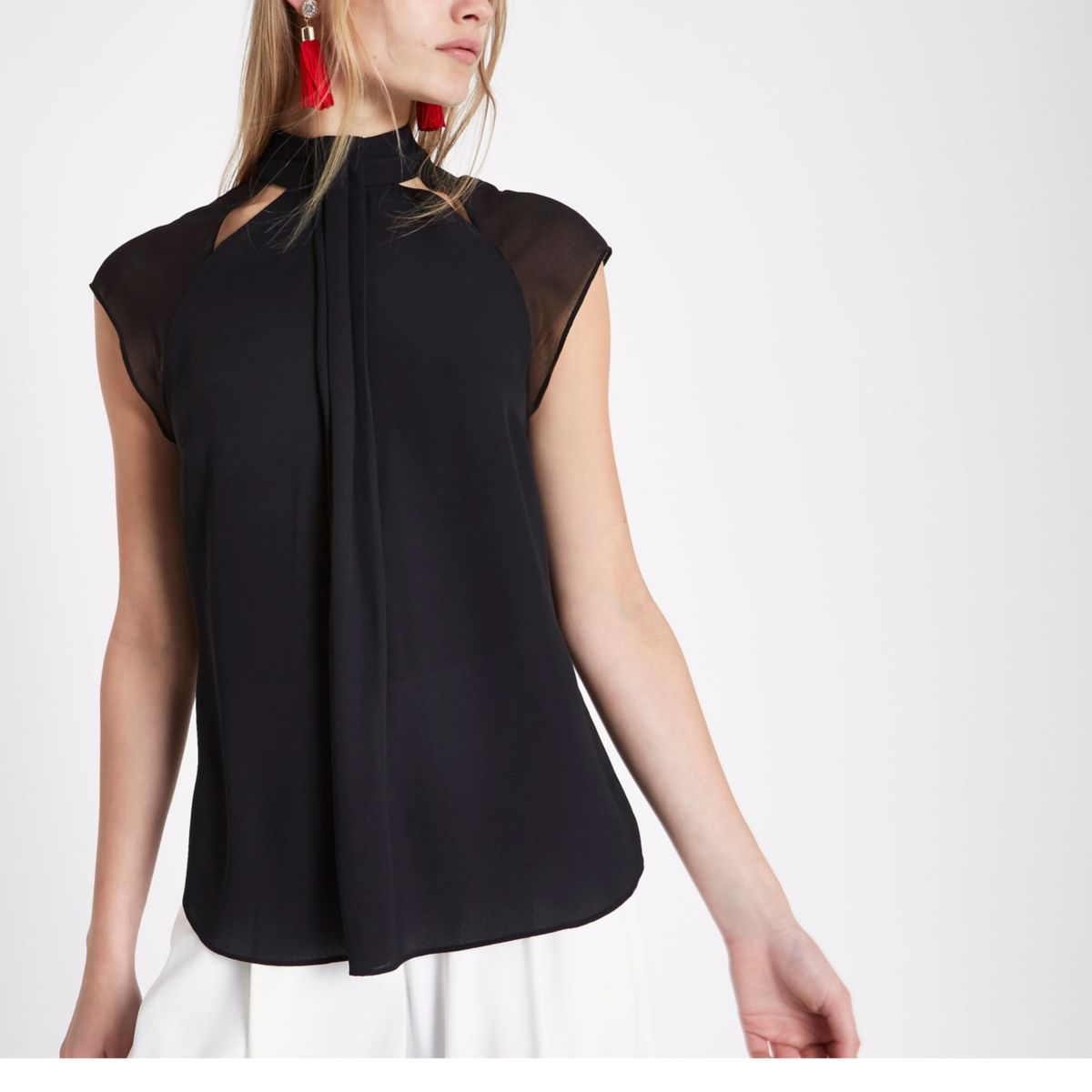 Black high neck pintuck pleat chiffon top