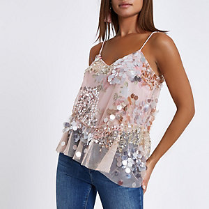 Pink sequin floral embellished cami top