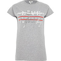 Grey 'love' print ring fitted T-shirt