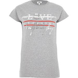 T-shirt ajusté gris imprimé «love» avec anneau