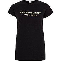T-shirt ajusté noir avec imprimé métallisé «éperduement»