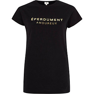 Black 'eperdument' foil print fitted T-shirt