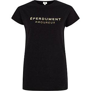 Zwart aansluitend T-shirt met 'eperdument'-folieprint
