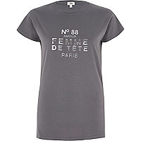Grey ' femme de tete' foil print T-shirt